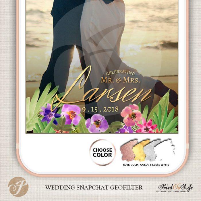 Wedding Geofilter Floral Bouquet, Custom Geofilter, Snapchat Geofilter 4
