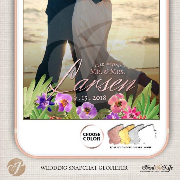 Wedding Geofilter Floral Bouquet, Custom Geofilter, Snapchat Geofilter 5