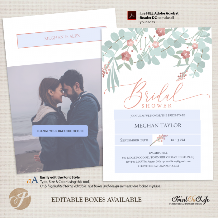 Bridal Shower Invitation, Floral Style with Rose Gold details, Couples Shower Invite with Picture. 2