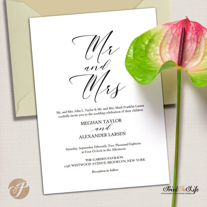 Mr and Mrs Wedding Invitation Set