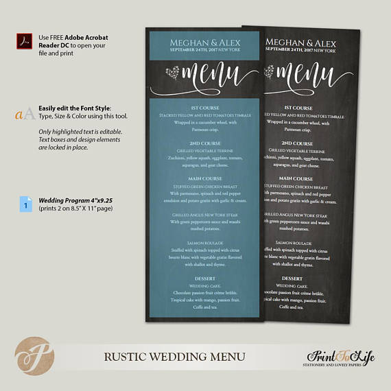 Wedding Menu Card Printable Chalkboard by Printolife
