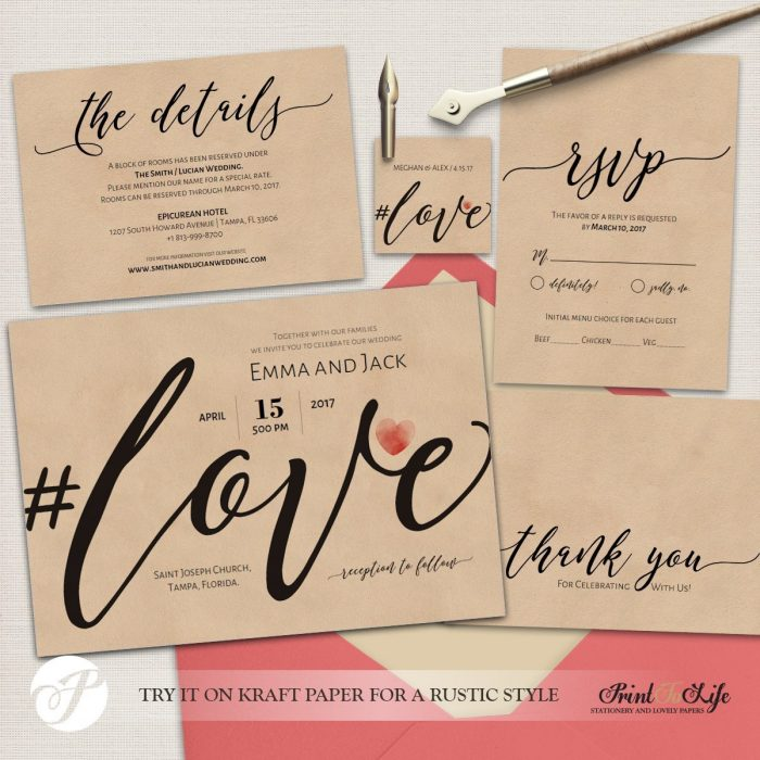 Wedding Invitation Set, Printable Suite Template, Modern Calligraphy, #Love Collection 2