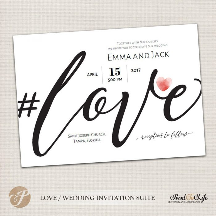 Wedding Invitation Set, Printable Suite Template, Modern Calligraphy, #Love Collection 1