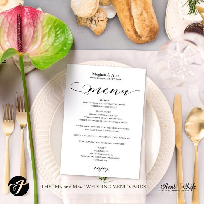 Wedding Menu Cards, Modern Calligraphy, #MrAndMrs Collection 2