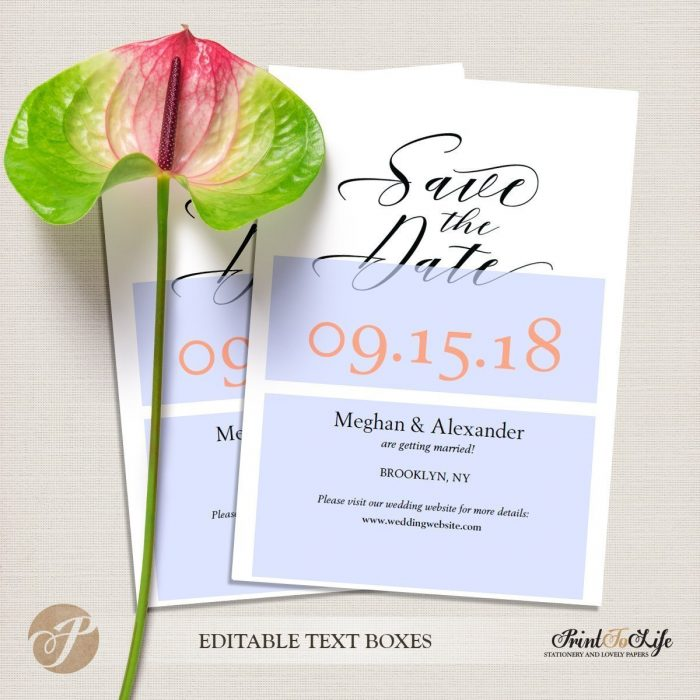 Save the Date Card, Wedding Card Template, Modern calligraphy #MrAndMrs 5