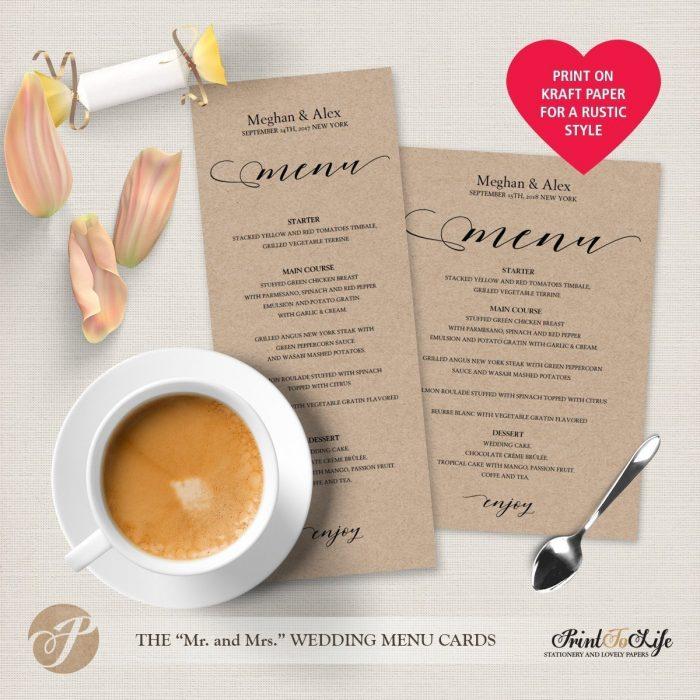 Wedding Menu Cards, Modern Calligraphy, #MrAndMrs Collection 4