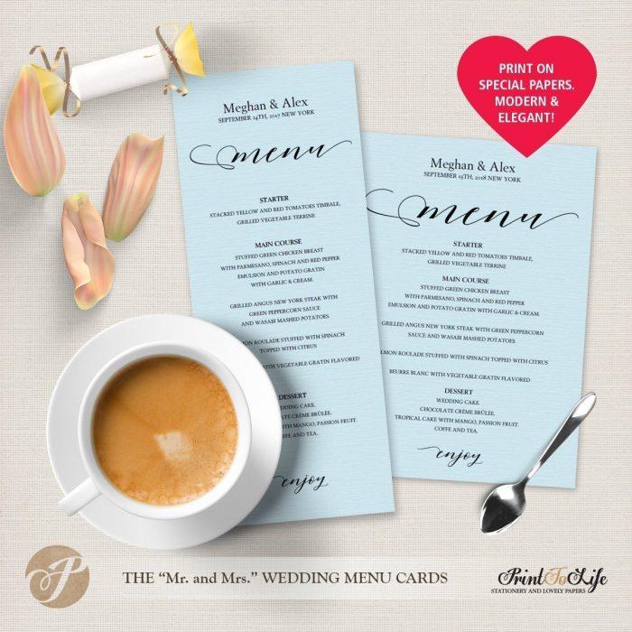 Wedding Menu Cards, Modern Calligraphy, #MrAndMrs Collection 5