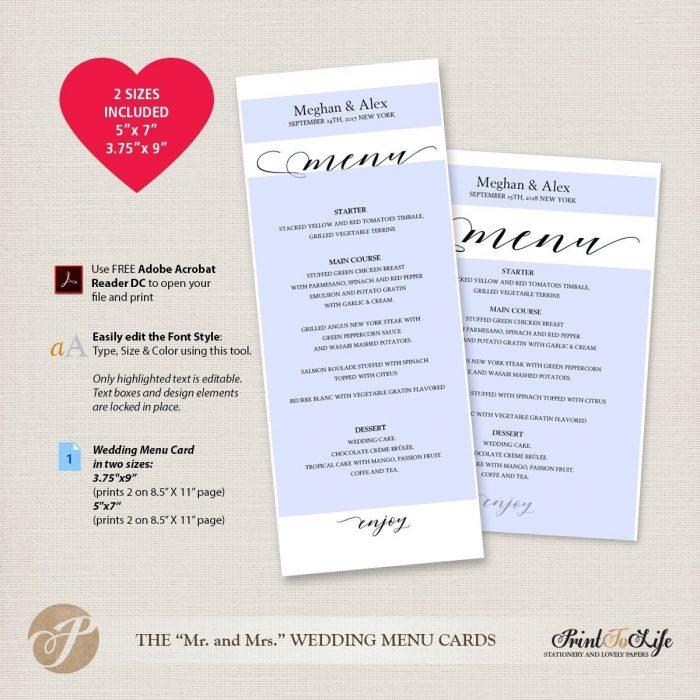 Wedding Menu Cards, Modern Calligraphy, #MrAndMrs Collection 3