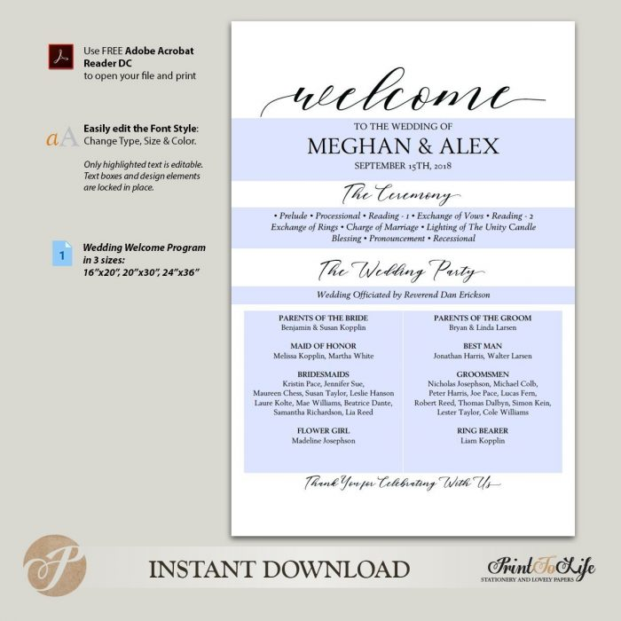 Welcome Wedding Sign and Program , Welcome Ceremony Program in 3 SIZES #MrAndMrs 3