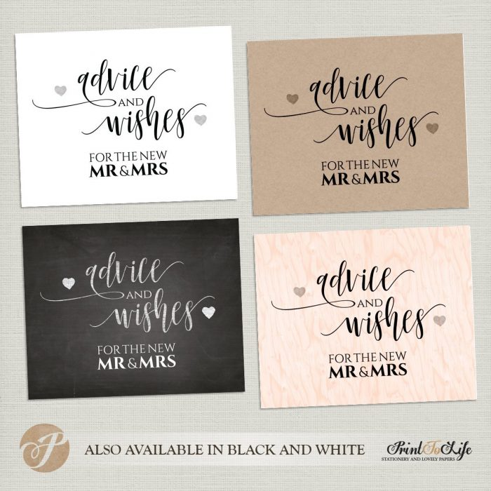 Wedding Wishes Sign, Advice and Wishes, Guest Book Sign, Modern Calligraphy Style. 1