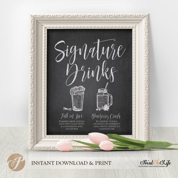 Signature Drinks Sign, Illustrated Wedding Bar Sign, Printable Bar Menu, Chalkboard Template. 1
