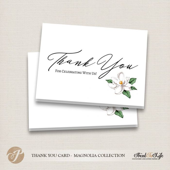 Thank You Card, Printable Tented Card, #Magnolia Collection 1