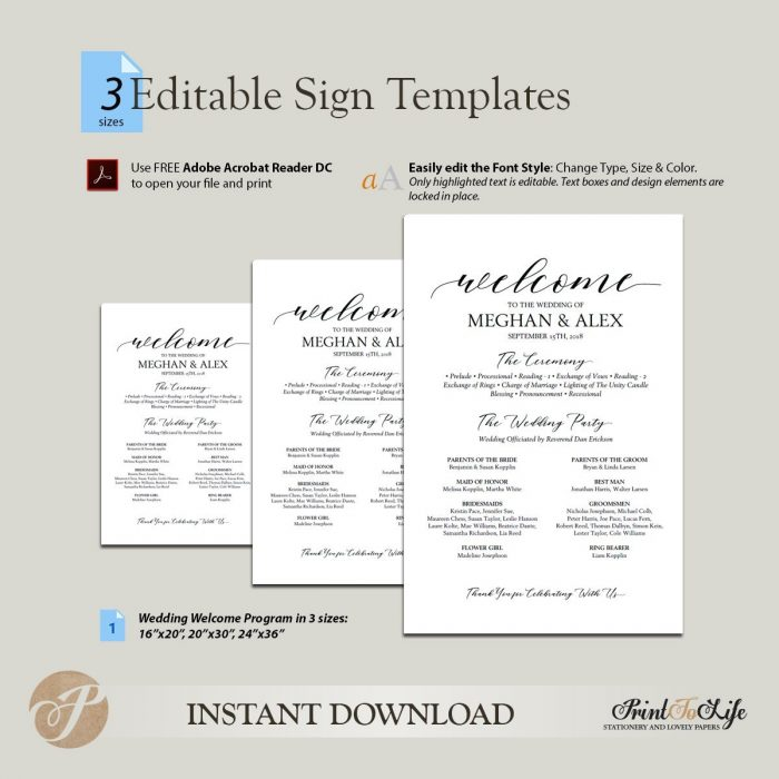 Welcome Wedding Sign and Program , Welcome Ceremony Program in 3 SIZES #MrAndMrs 2