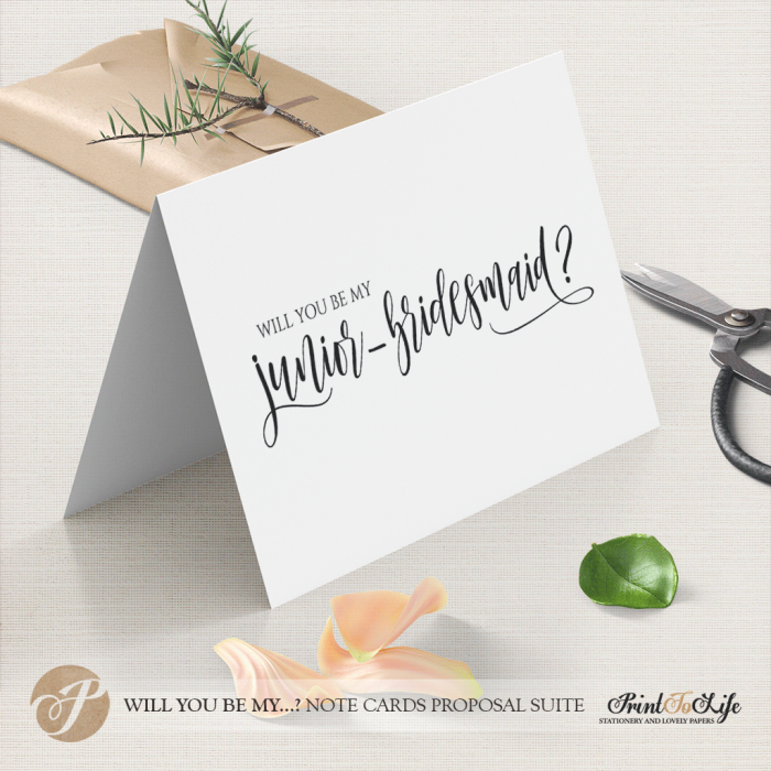 Will you be my junior bridesmaid card by Printolife