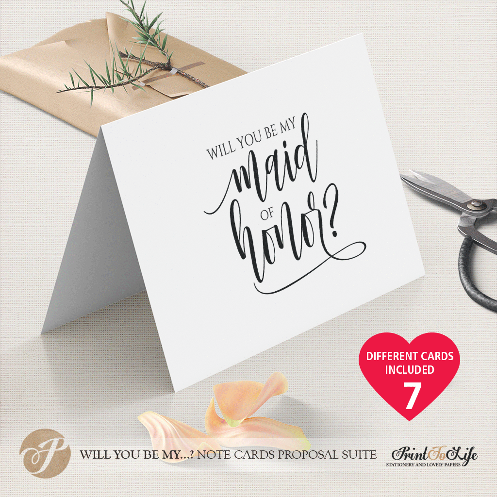 Will You Be My Bridesmaid Card, Printable Set of 23 Cards templates With Will You Be My Bridesmaid Card Template