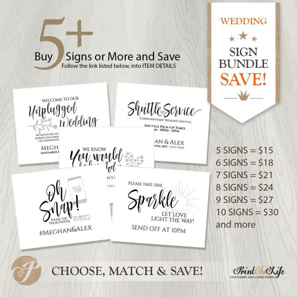 wedding sign bundle by Printolife