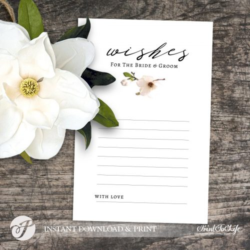 Wedding Wishes Magnolia Card by Printolife