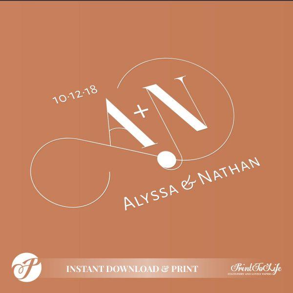 Infinity Wedding Monogram by Printolife