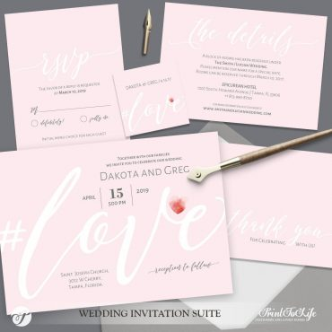 Blush Wedding Invitation by Printolife