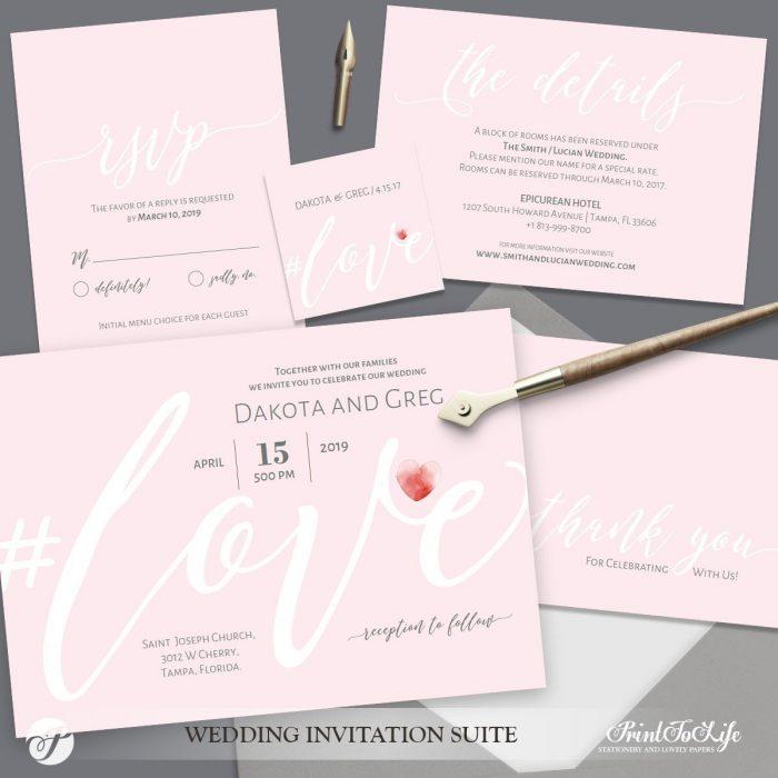Blush Wedding Invitation by Printolife