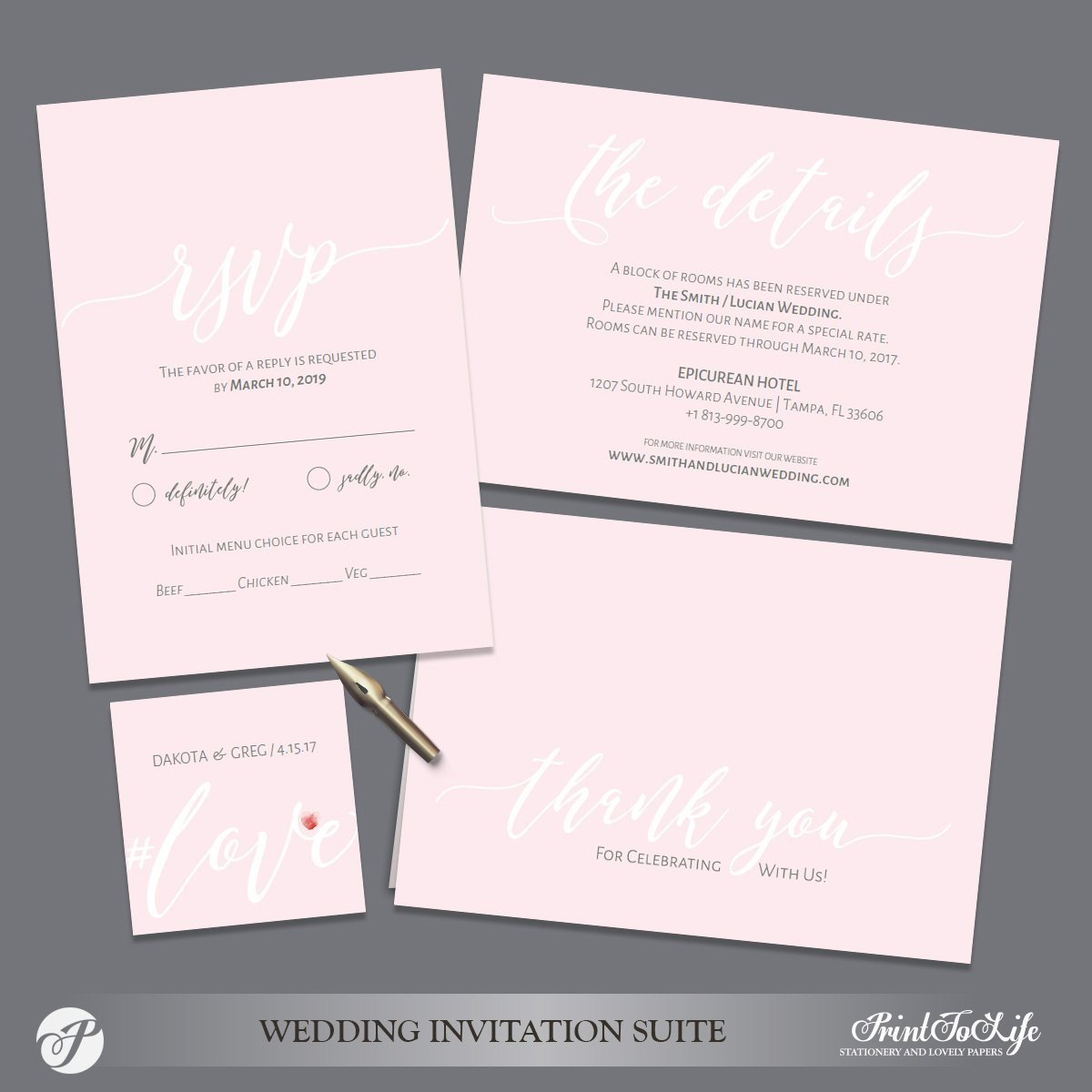 Blush Wedding Enclosure Cards by Printolife