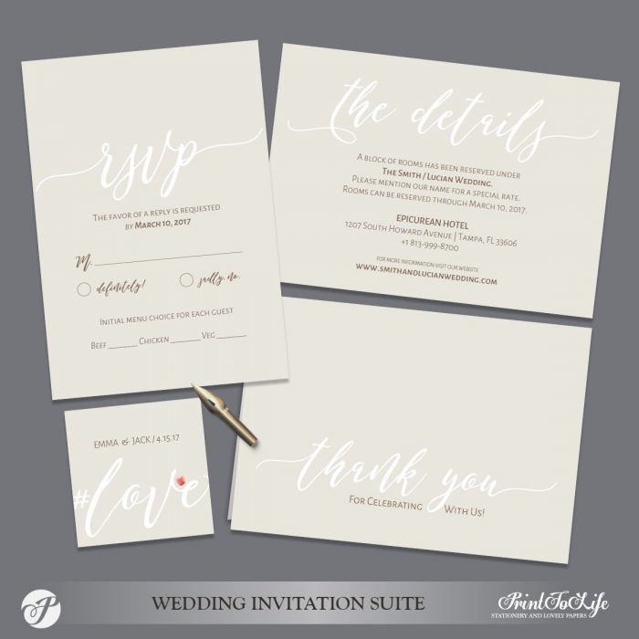 Beige Neutral Wedding Enclosure Cards by Printolife