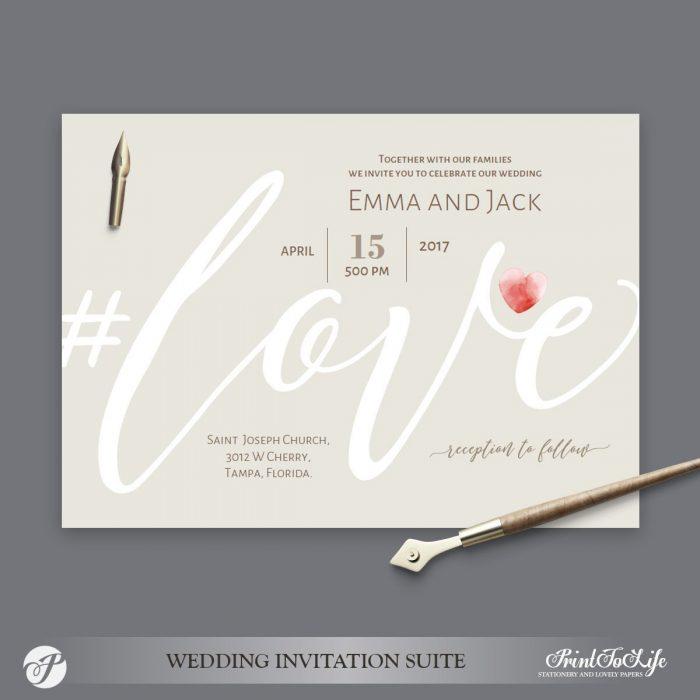 Love Wedding Invitation Neutral Beige by Printolife