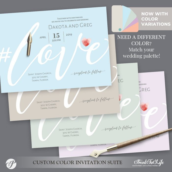 Love Wedding Suite with color variations by Printolife