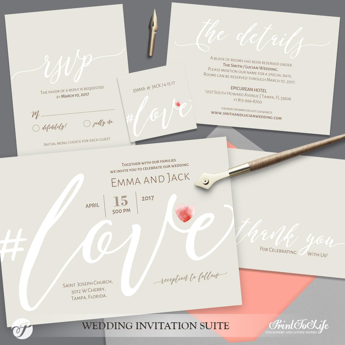 Love Wedding Invitation Neutral Beige by Printolife