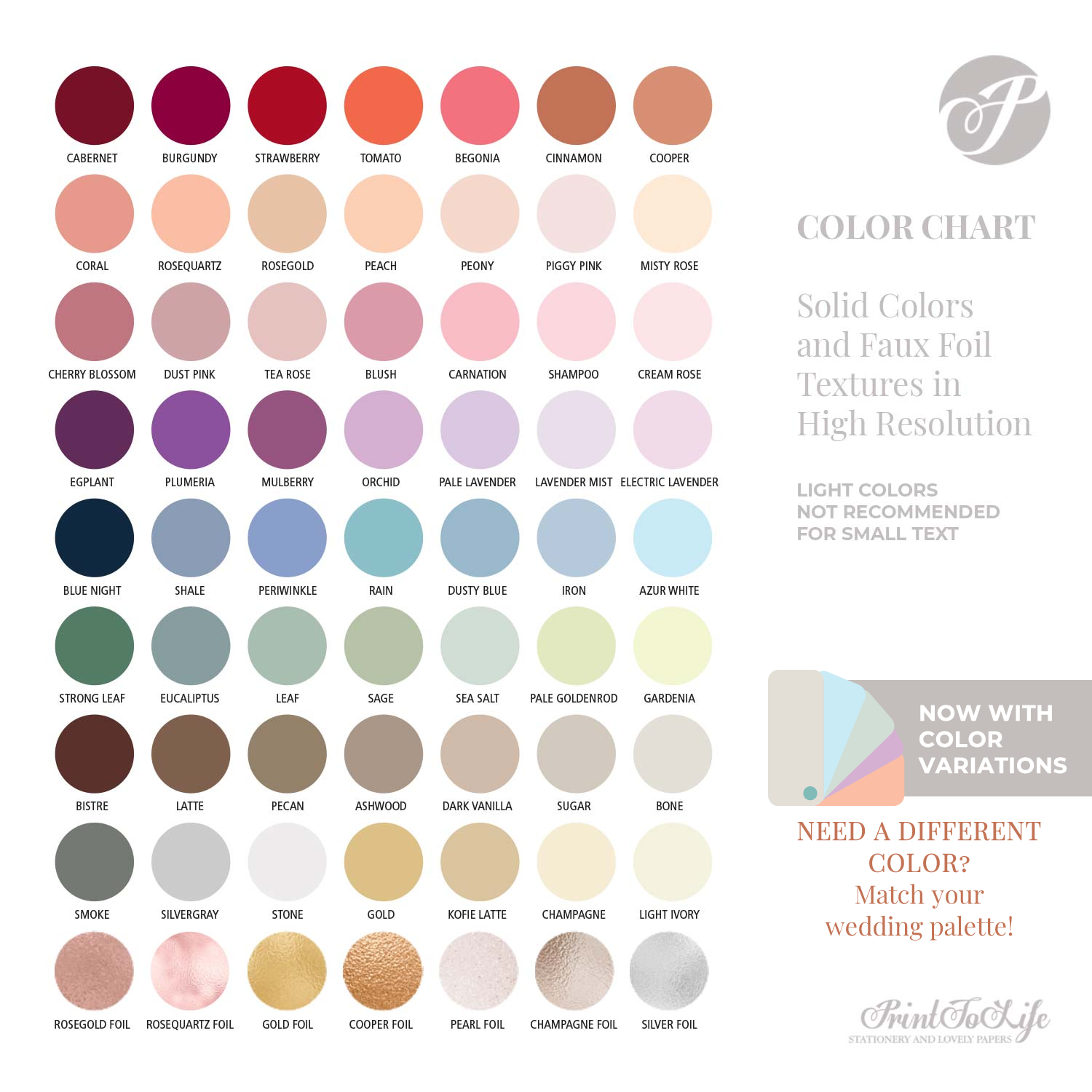 Match your wedding palette with Printolife
