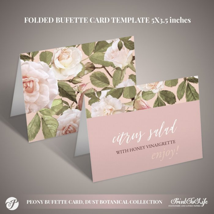Peony Buffet Cards Template by Printolife