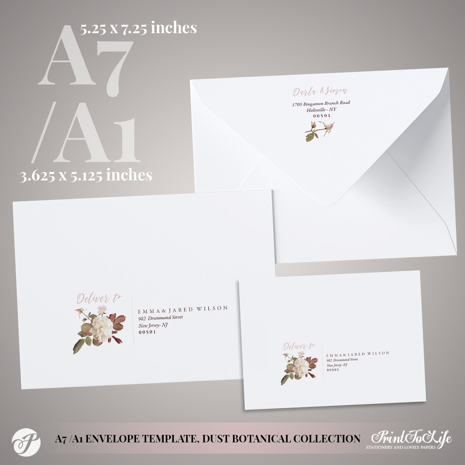 Peony Envelope Address Template by Printolife