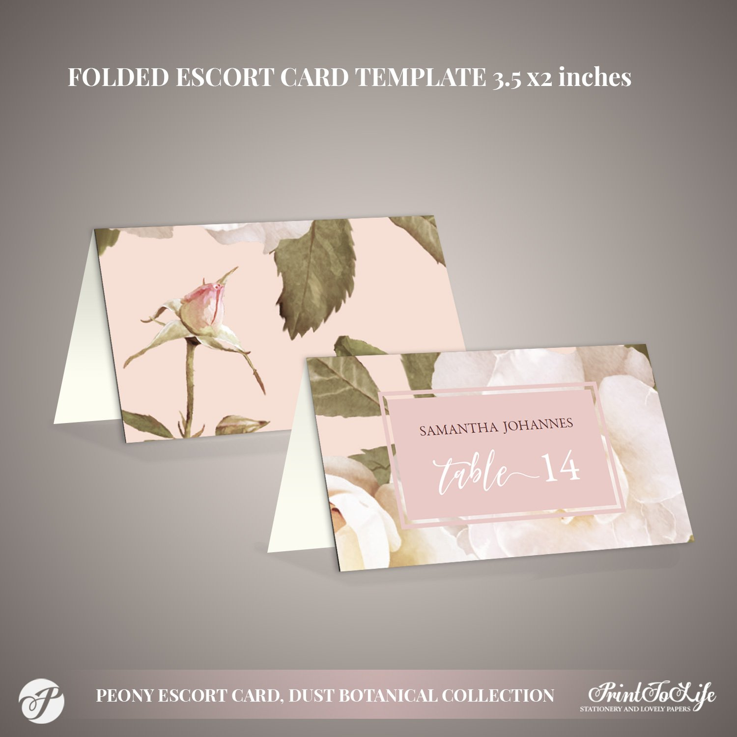 Peony Escort Cards Template by Printolife