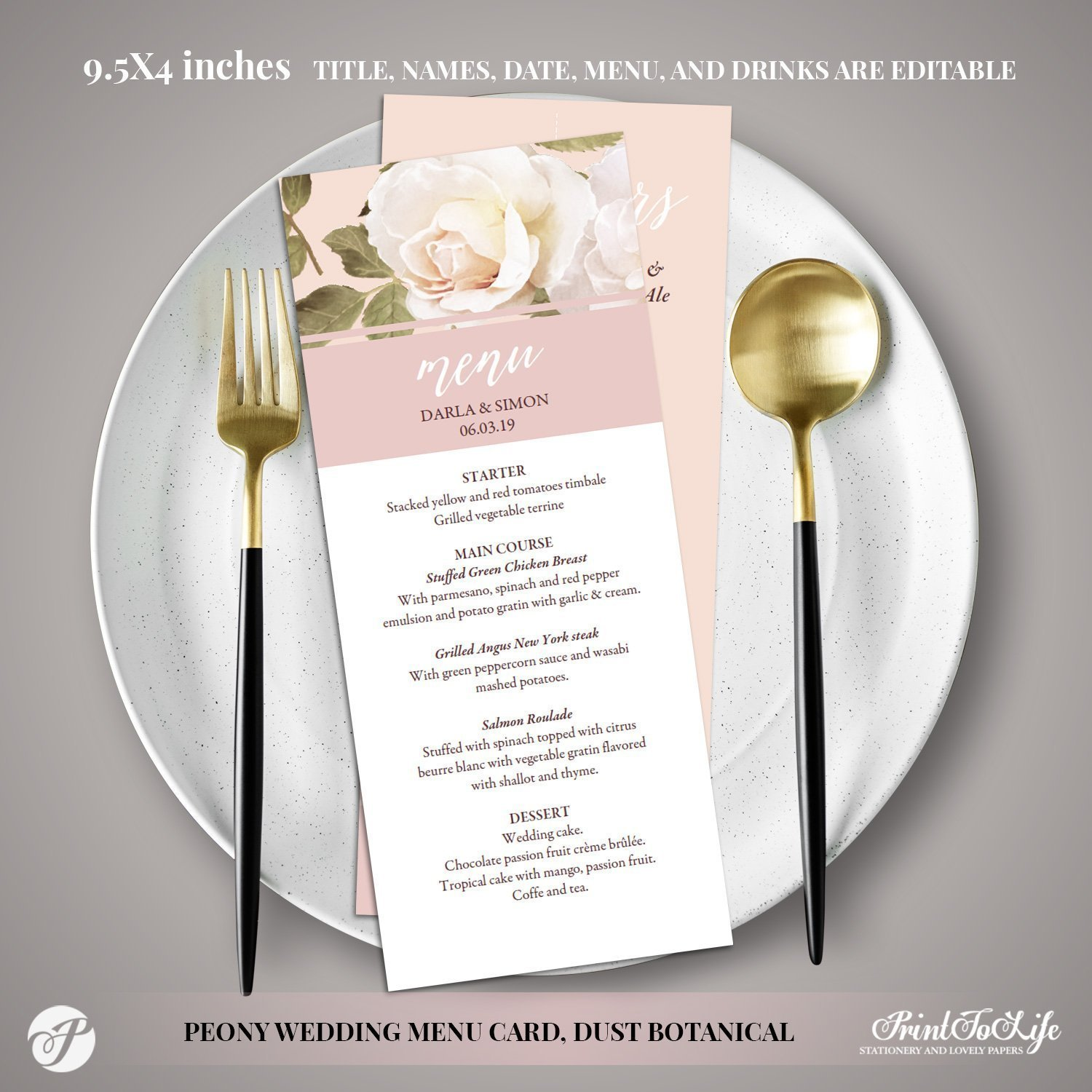 Peony Wedding Menu Template by Printolife
