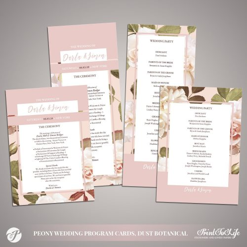 Peony Wedding Programs by Printolife