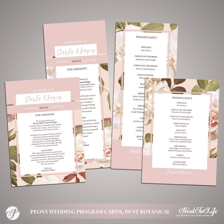 Peony Wedding Programs by Printolife