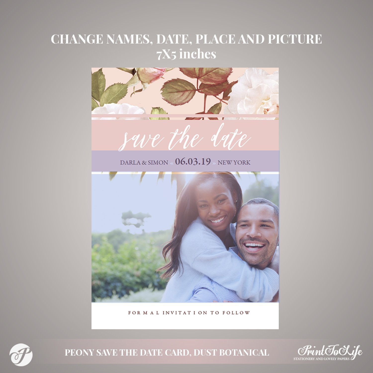 Peony Save the Date Card by Printolife