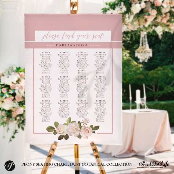 Peony Seating Chart by Printolife