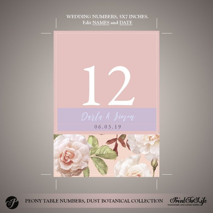 Peony Wedding Table Numbers by Printolife