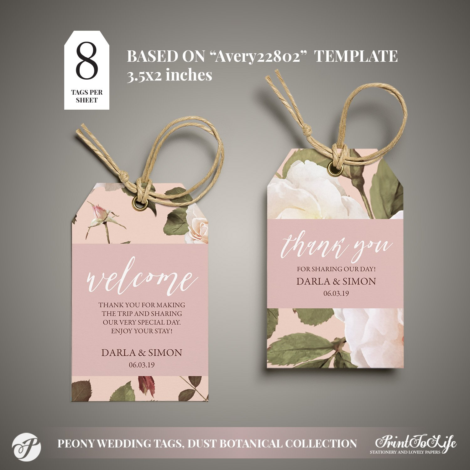 Peony Wedding Favor Tags by Printolife