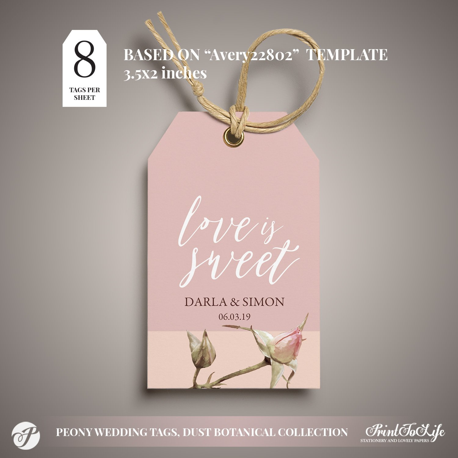 love is sweet gift tag by Printolife
