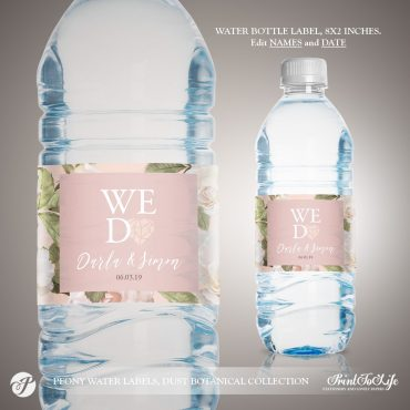 Peony Water Bottle Label Template by Printolife