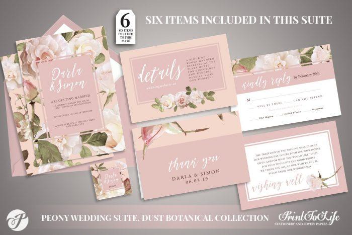 Peony Wedding Invitation Set by Printolife