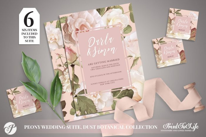 Peony Wedding Invitation Set by Printolife