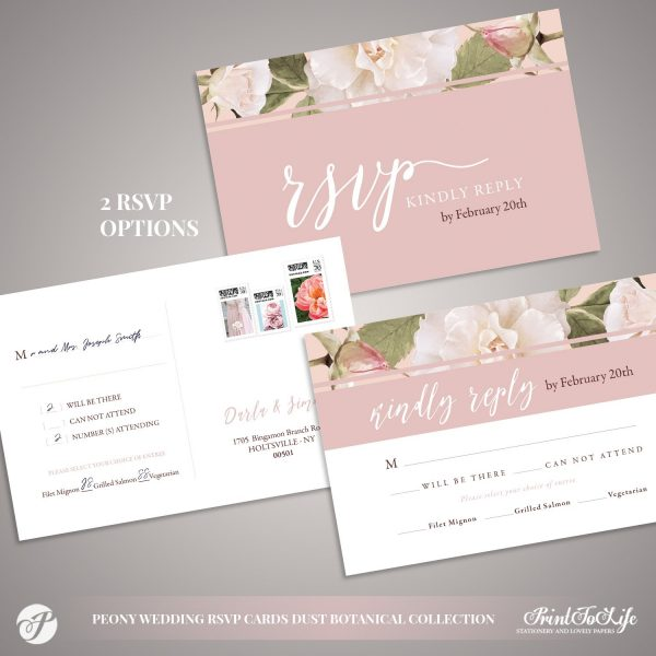Peony Wedding RSVP Cards by Printolife