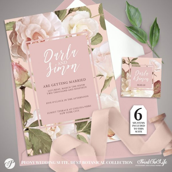 Peony Wedding Invitation Suite by Printolife