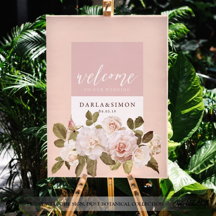Peony Wedding Sign by Printolife