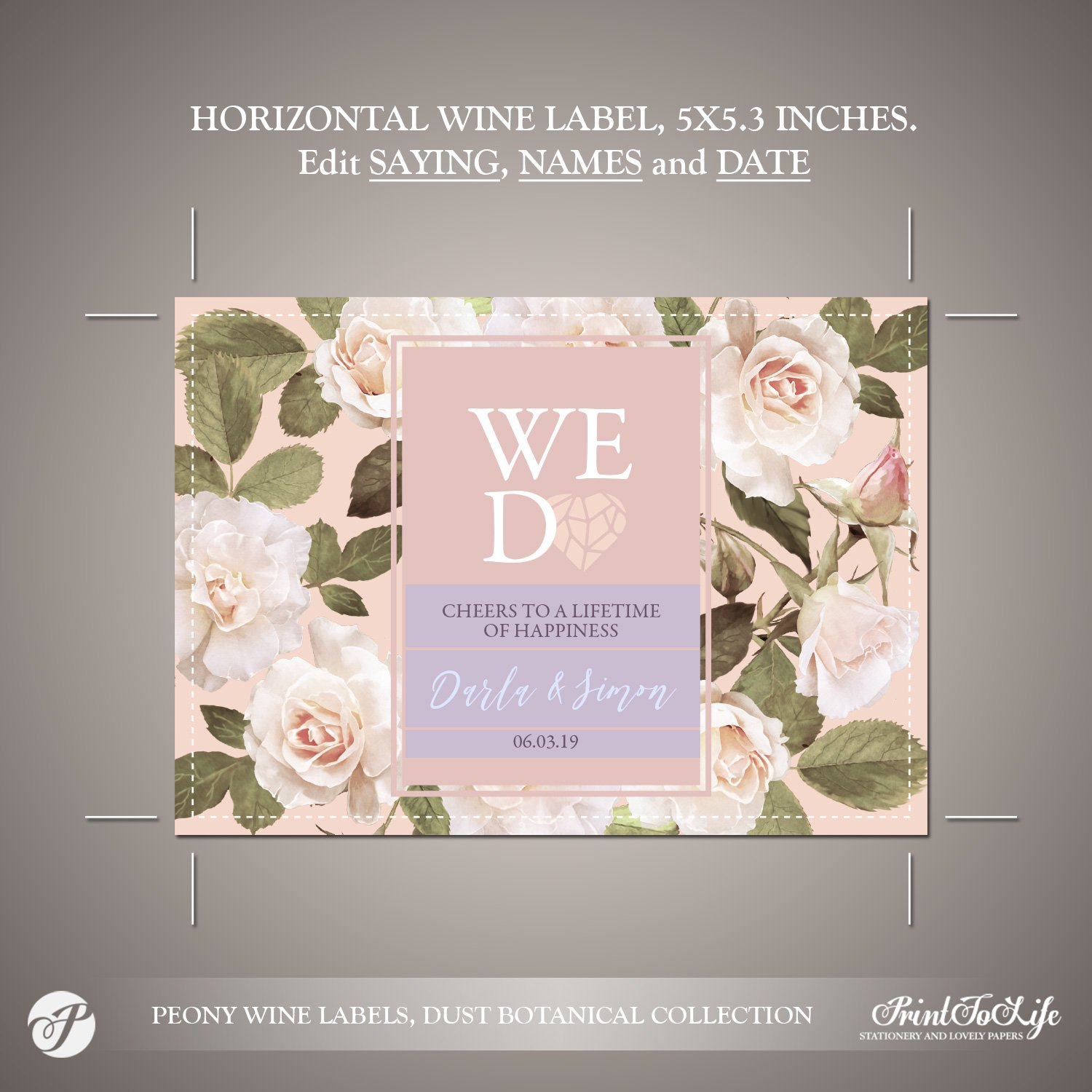wine bottle label template by Printolife