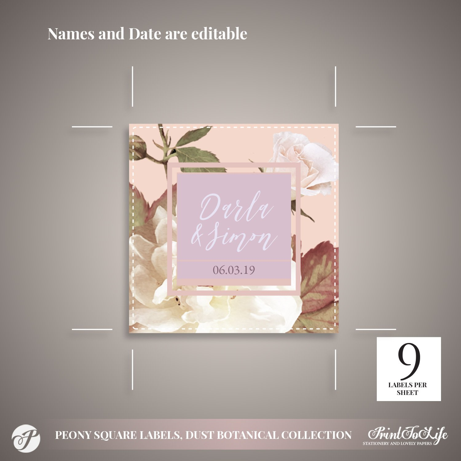 Peony Square Wedding Labels by Printolife