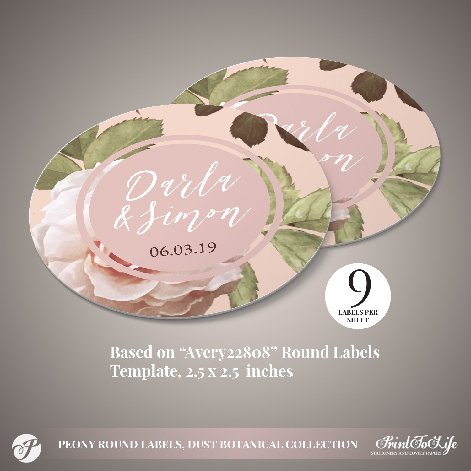 Peony Round Wedding Coasters by Printolife